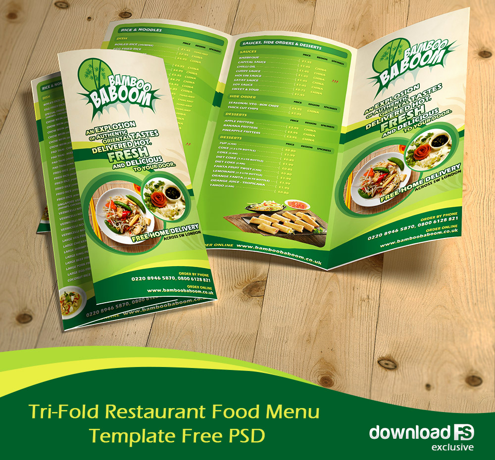 Restaurant Menu Template Psd Unique Free Tri Fold Restaurant Food Menu Template Free Psd at