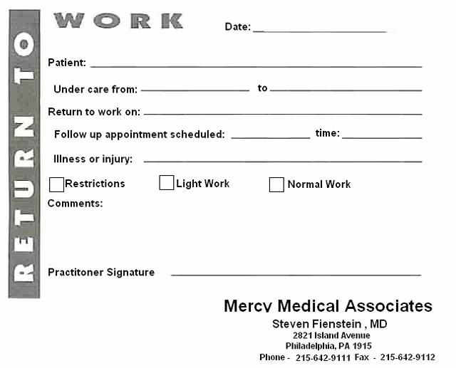 Return to Work Note Template Best Of Blank Printable Doctors Notes