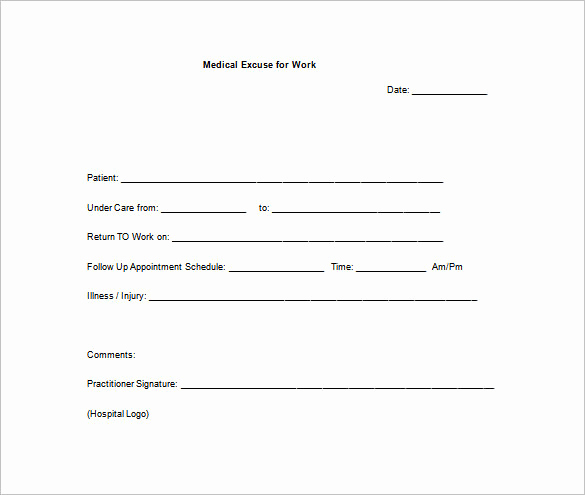 Return to Work Note Template Fresh Return to Work Doctors Note Template