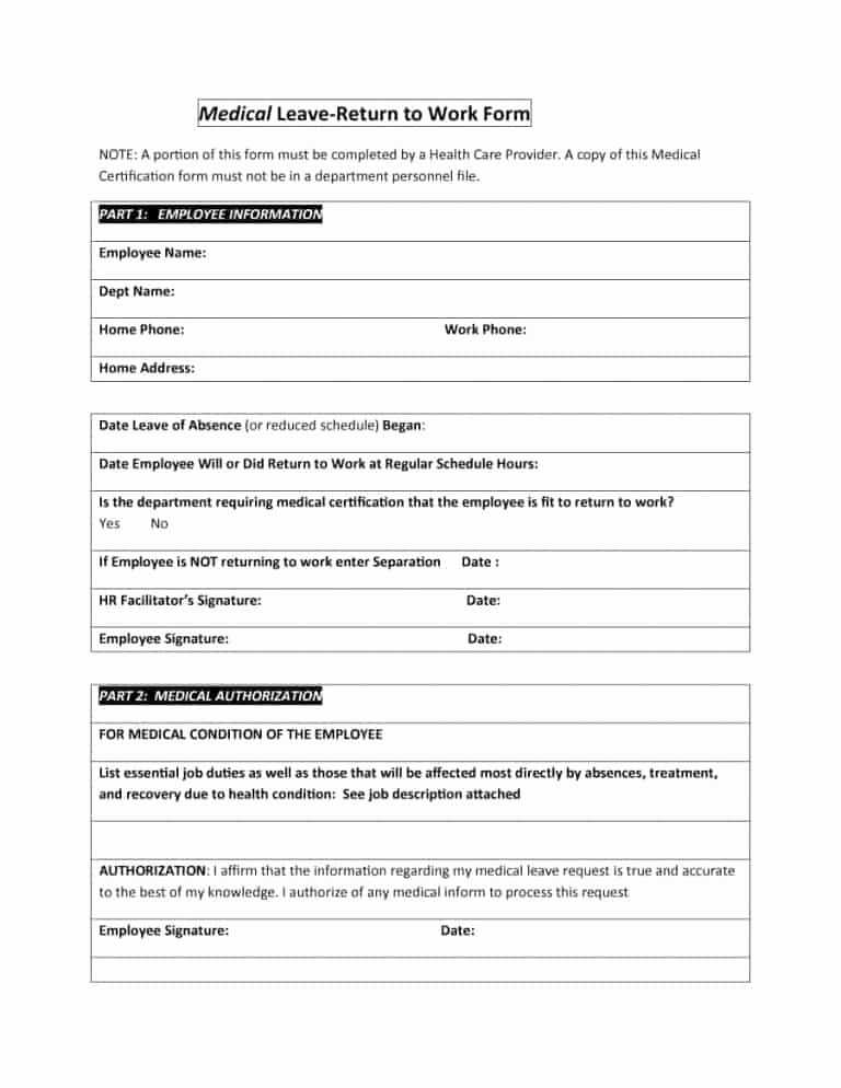 Return to Work Note Template Inspirational 44 Return to Work & Work Release forms Printable Templates