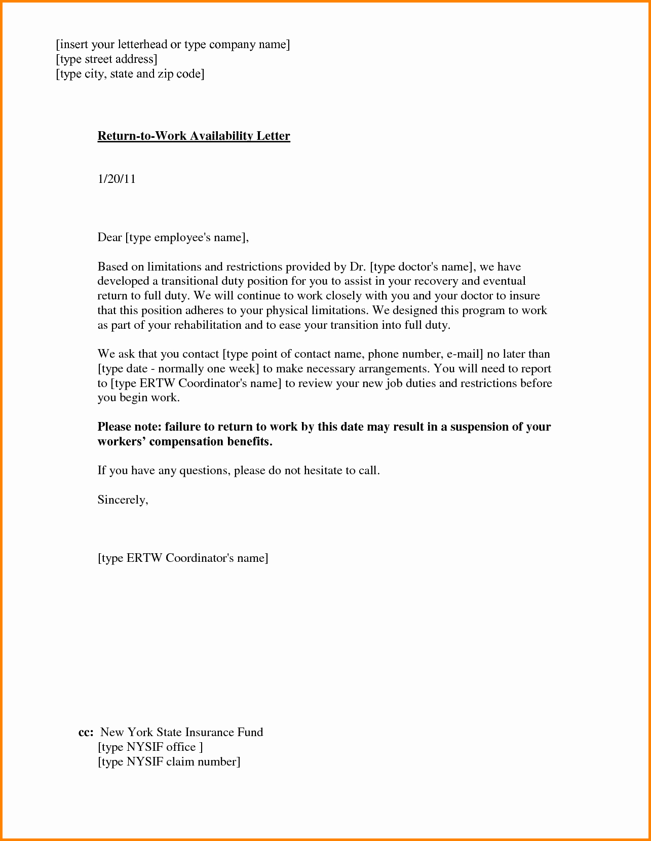 Return to Work Note Template Lovely Return to Work with Restrictions Letter
