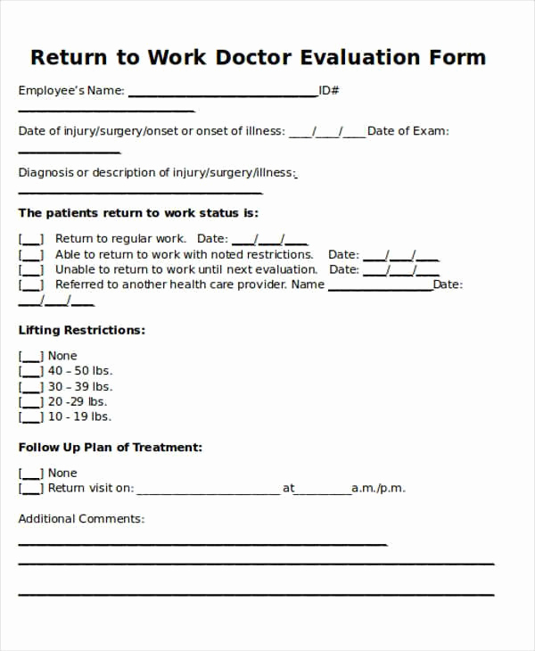 Return to Work Note Template Unique Return to Work Doctors Note Template