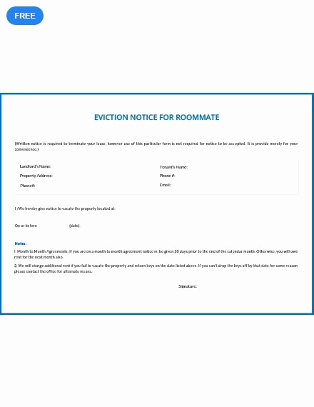 Roommate Eviction Notice Template Fresh Free Eviction Notice for Roommate