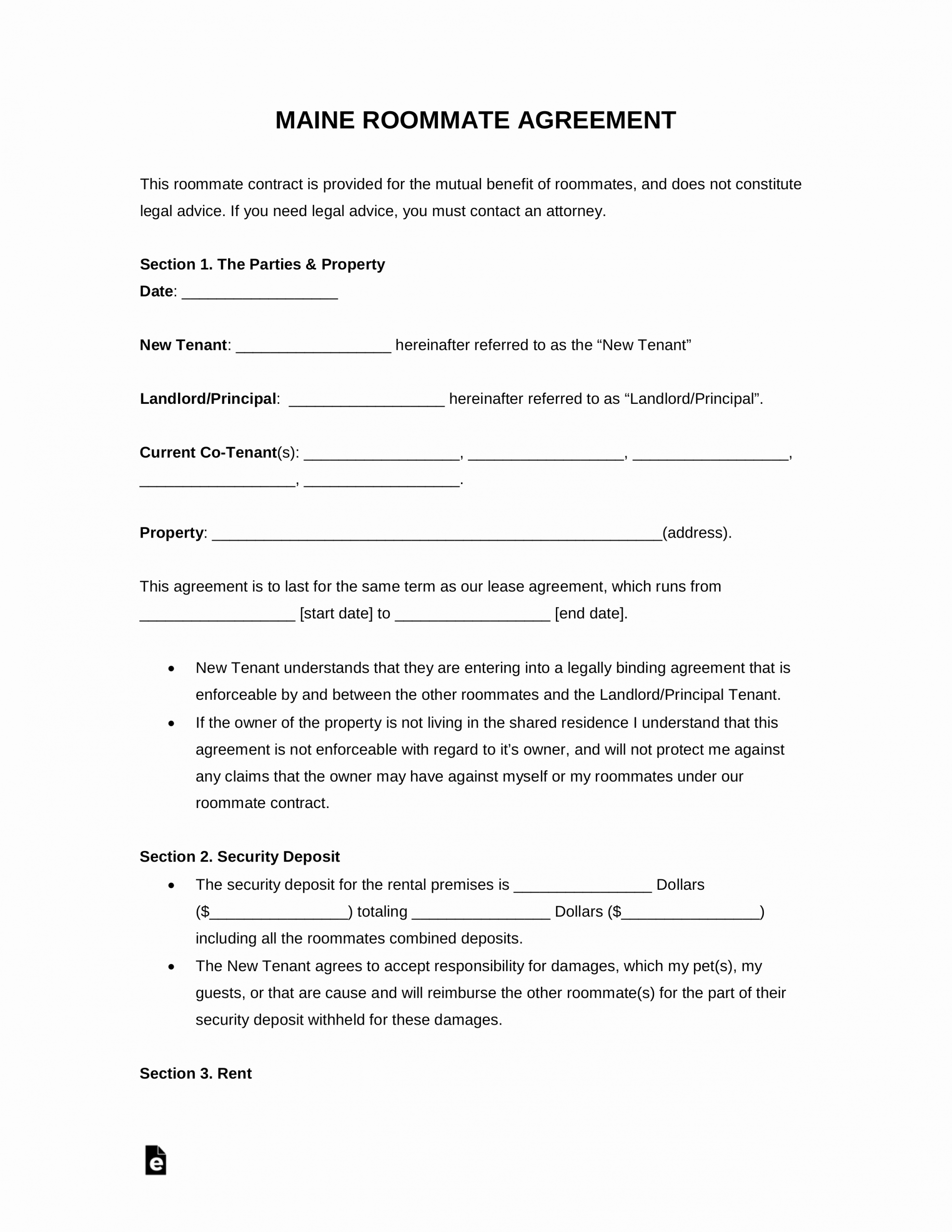 Roommate Eviction Notice Template Luxury Free Maine Roommate Agreement Template Pdf