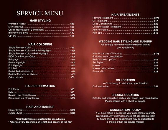 Salon Price Menu Template Awesome Pin by Shelley On Business Card Templates