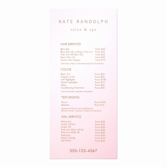 Salon Price Menu Template Elegant Simple Pink Ombre Salon Price List Service Menu