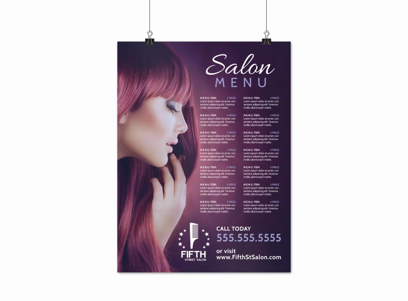 Salon Price Menu Template Fresh Hair Salon Menu Poster Template