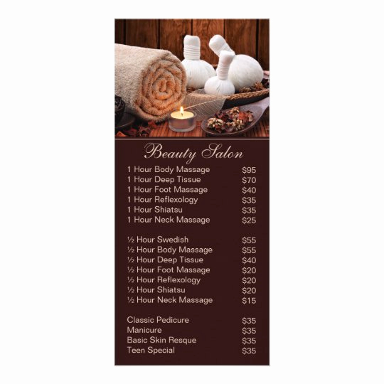 Salon Price Menu Template Fresh Spa Massage Salon Service Menu with Price List