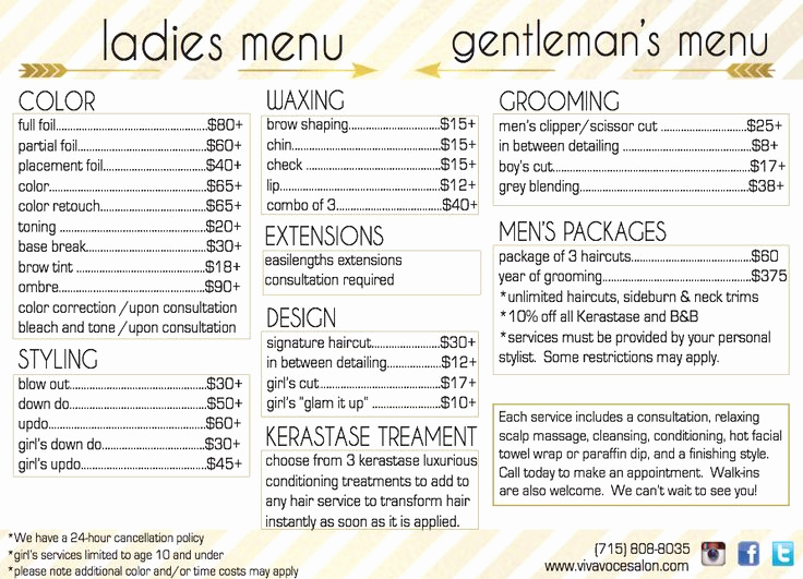 Salon Price Menu Template Fresh Viva Voce Hair Salon Menu with Services and Prices