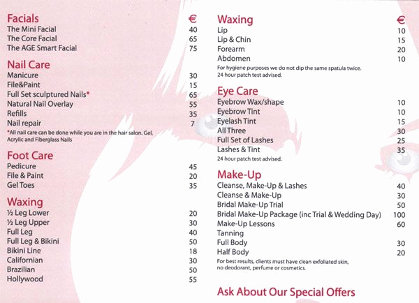 Salon Price Menu Template New Salon Price List