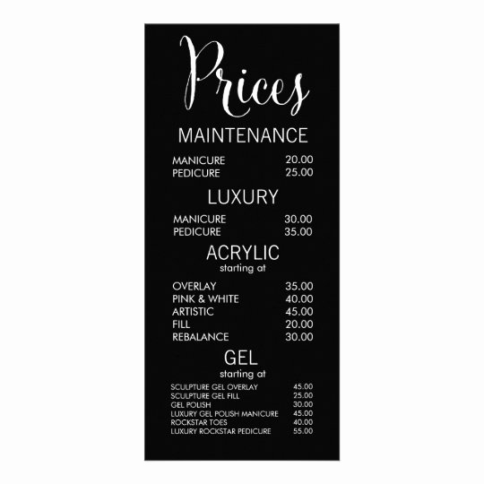 black white salon menu price list cards