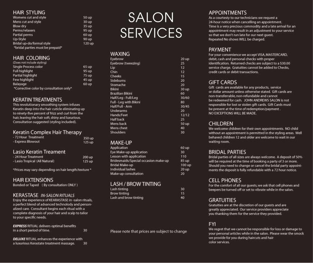 Salon Service Menu Template Awesome John andrews Salon Services …