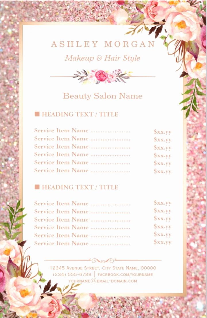 Salon Service Menu Template Elegant 15 Eye Catching Salon Menu Templates Psd Ai