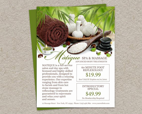 Salon Service Menu Template Elegant Personalized Spa Salon Flyer with Prefilled Coupons and