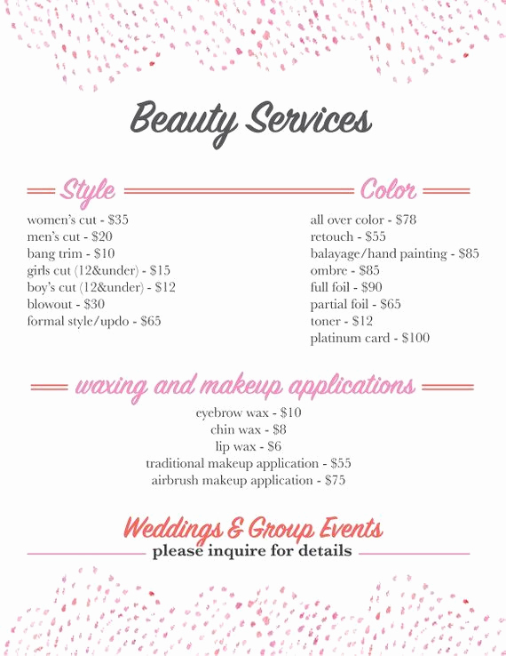Salon Service Menu Template Elegant Salon Services Menu Template