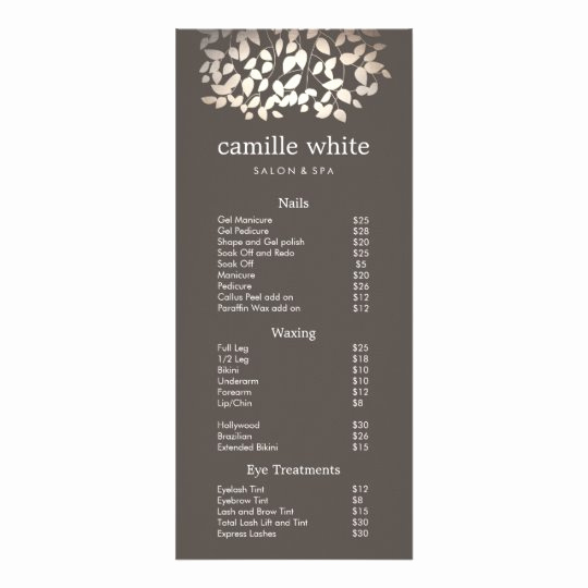 Salon Service Menu Template Elegant Silver Gold Leaves Beauty Salon Price List Menu