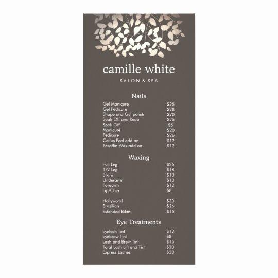 Salon Service Menu Template Elegant Silver Gold Leaves Beauty Salon Price List Menu