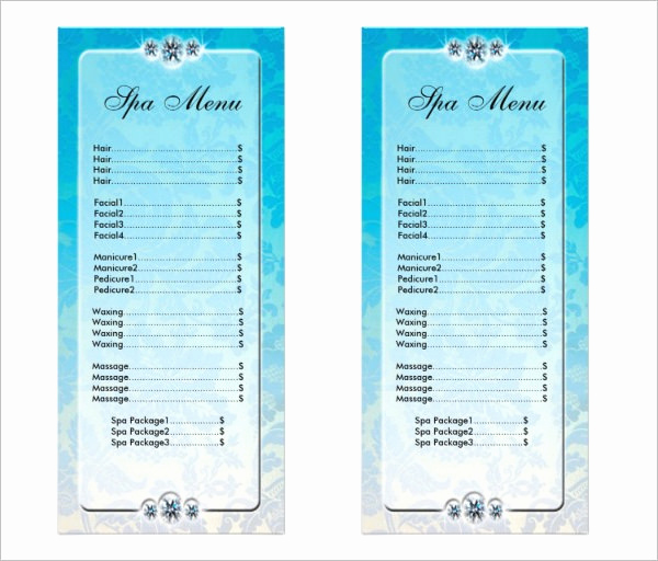 Salon Service Menu Template Lovely 22 Spa Menu Templates Psd Eps
