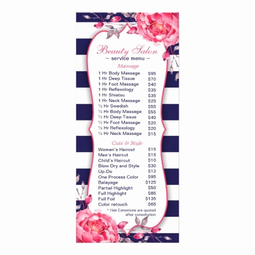Salon Service Menu Template Lovely 90 Best Spa and Salon Flyers Brochures Coupons and More