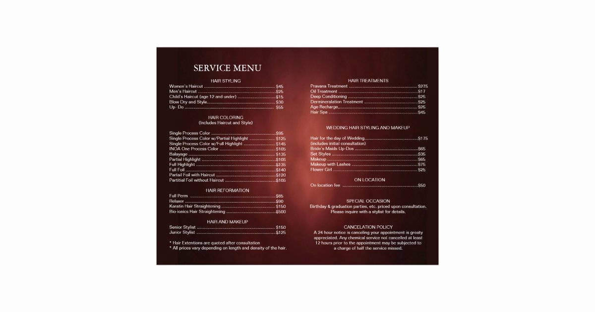 Salon Service Menu Template Lovely Hair Salon Stylist Service Menu Brochure Template