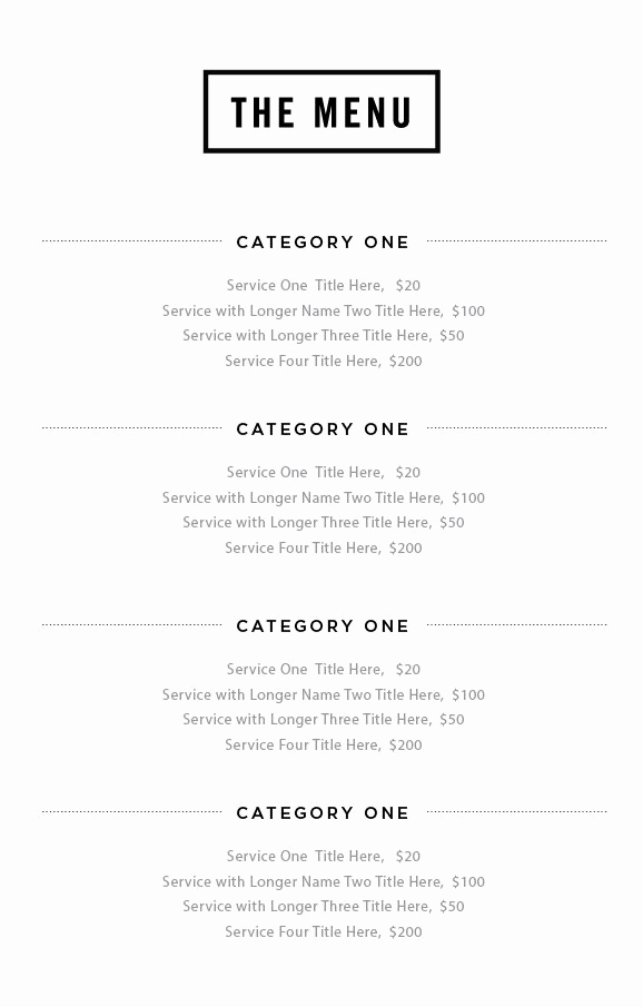 Salon Service Menu Template Luxury 15 Best Service Menu Images On Pinterest