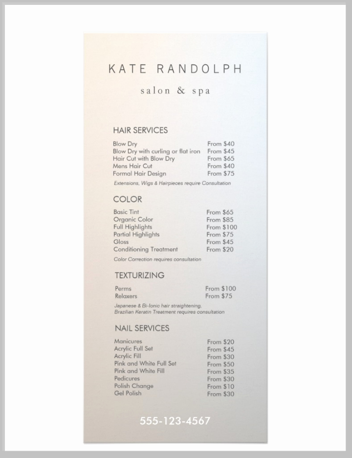 salon menu templates