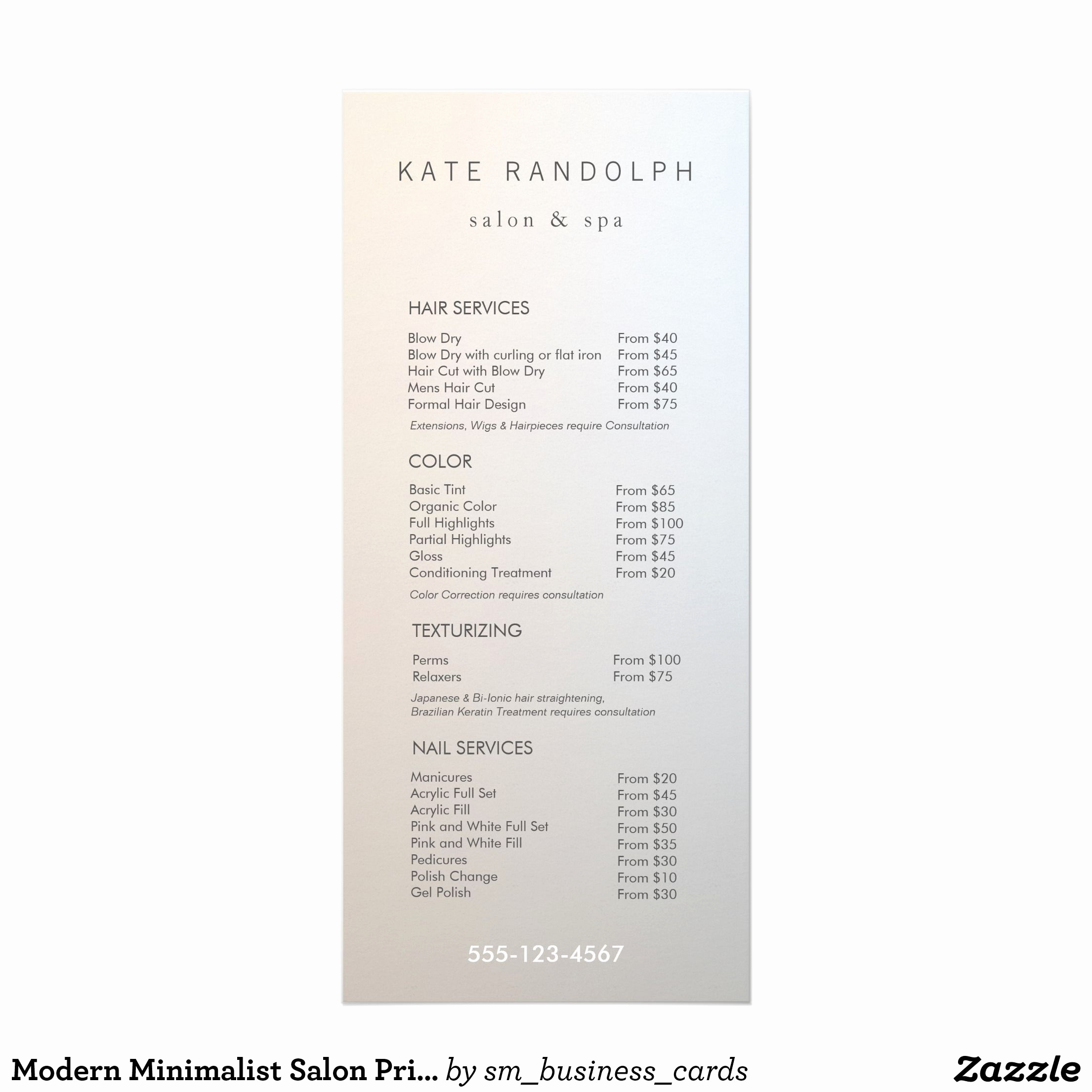 Salon Service Menu Template Luxury Modern Minimalist Salon Price List Service Menu 25 Cards