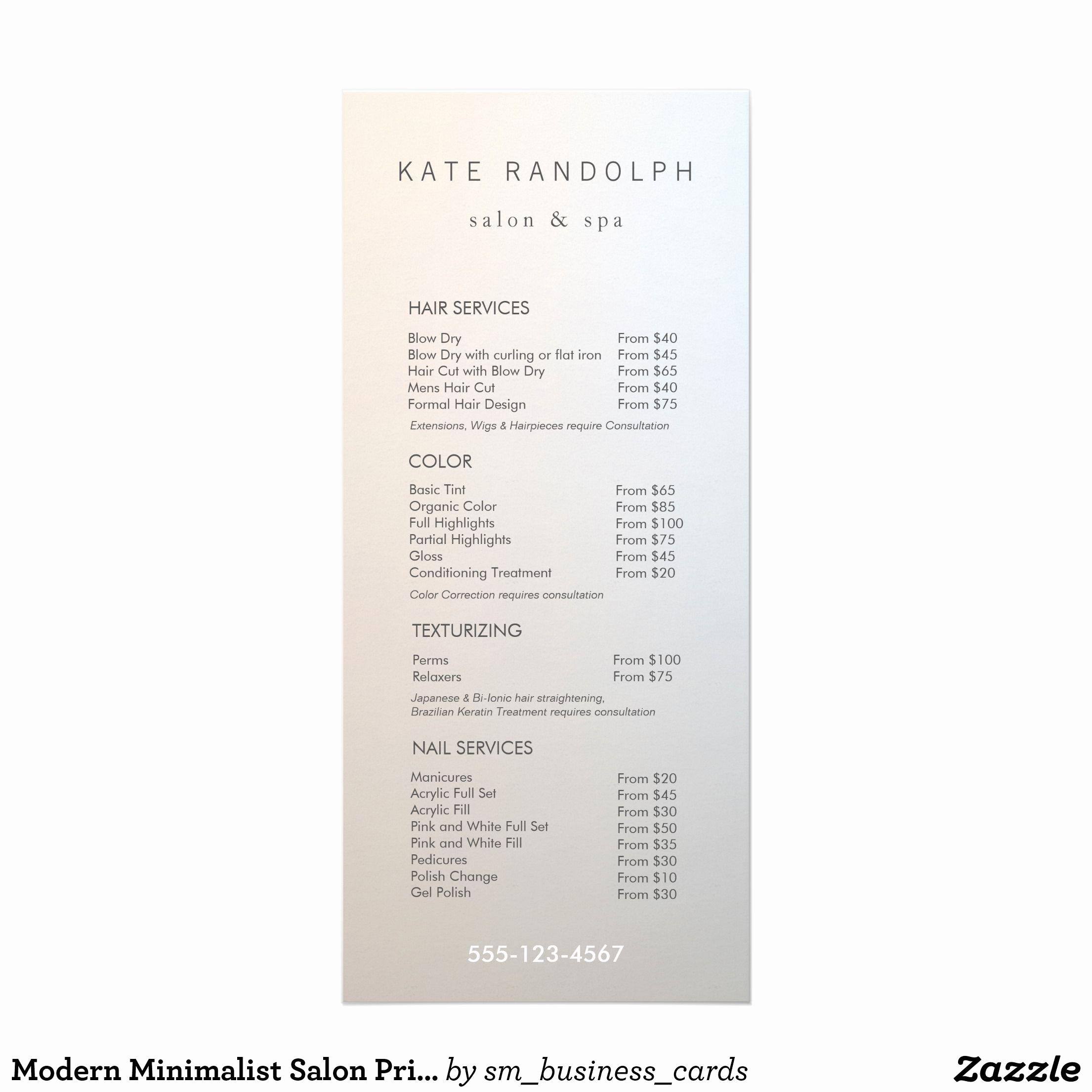 Salon Service Menu Template Luxury Modern Minimalist Salon Price List Service Menu 25 Cards
