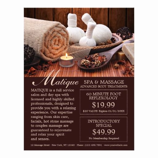 Salon Service Menu Template Luxury Spa Salon Menu Services Flyer with Coupons