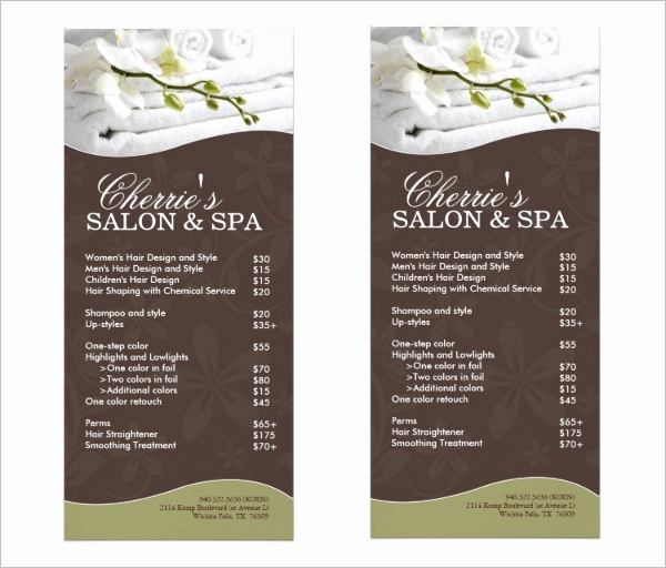 Salon Service Menu Template New 21 Spa Menu Templates Psd Eps