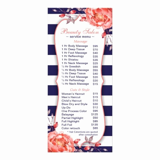Salon Services Menu Template Awesome A Navy and Coral Salon and Spa Menu Of Services Rackcard