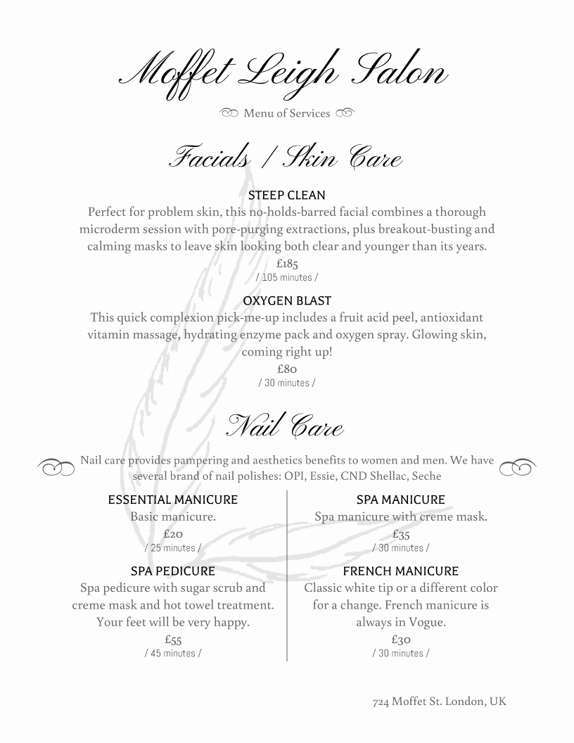 Salon Services Menu Template Elegant Spa Menu Templates and Designs From Imenupro