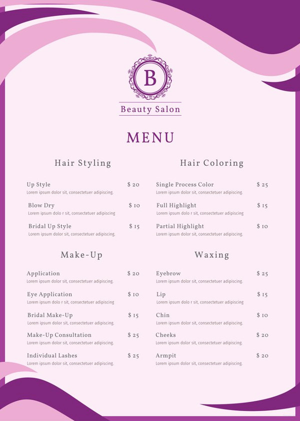 Salon Services Menu Template Fresh 15 Eye Catching Salon Menu Templates Psd Ai