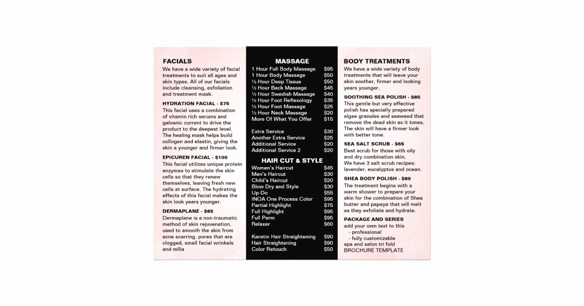 Salon Services Menu Template Inspirational Salon and Spa Menu Services Template