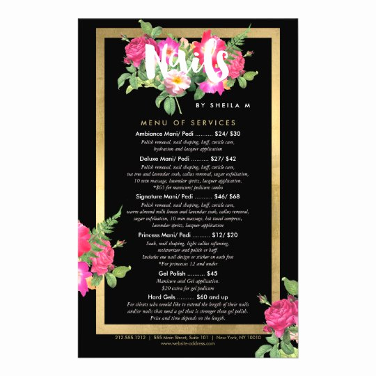 Salon Services Menu Template Lovely Beauty Florals Nail Salon Price List Service Menu