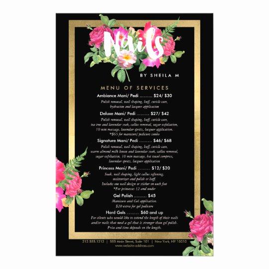 Salon Services Menu Template Lovely Beauty Florals Nail Salon Price List Service Menu