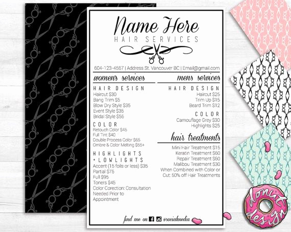 Salon Services Menu Template Luxury Hair Salon Service Menu Printable Custom Template