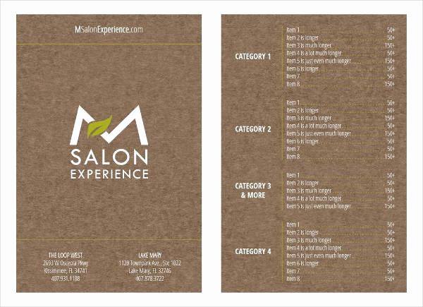 Salon Services Menu Template New 9 Salon Menu Templates Psd Vector Eps Ai Illustrator