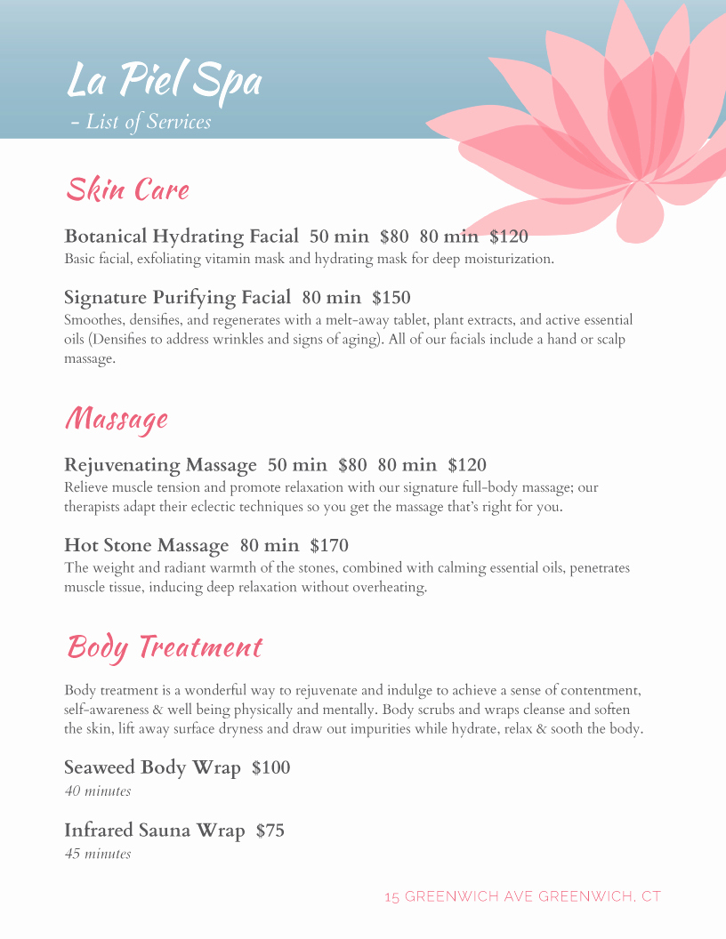 Salon Services Menu Template New Spa Menu Templates and Designs From Imenupro