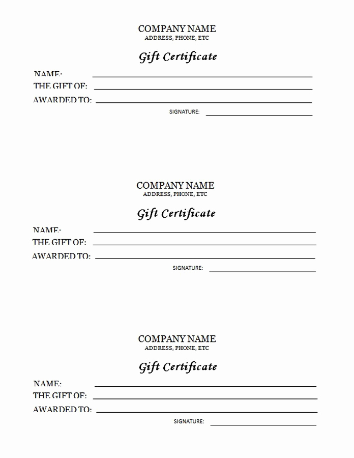 Sample Gift Certificate Template Best Of 3 Up Gift Certificate Free Templates Clip Art & Wording