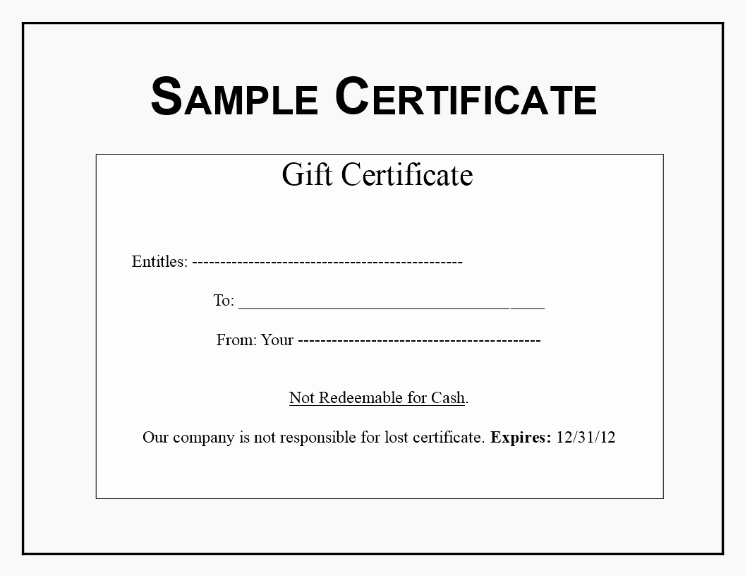 Sample Gift Certificate Template Best Of Gift Certificate Sample