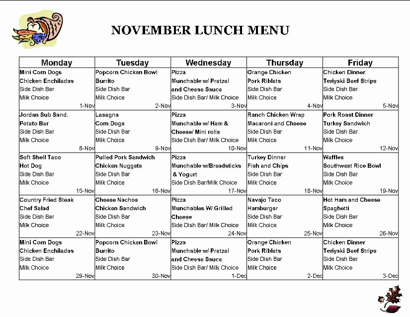 School Lunch Menu Template Best Of School Lunch Menu
