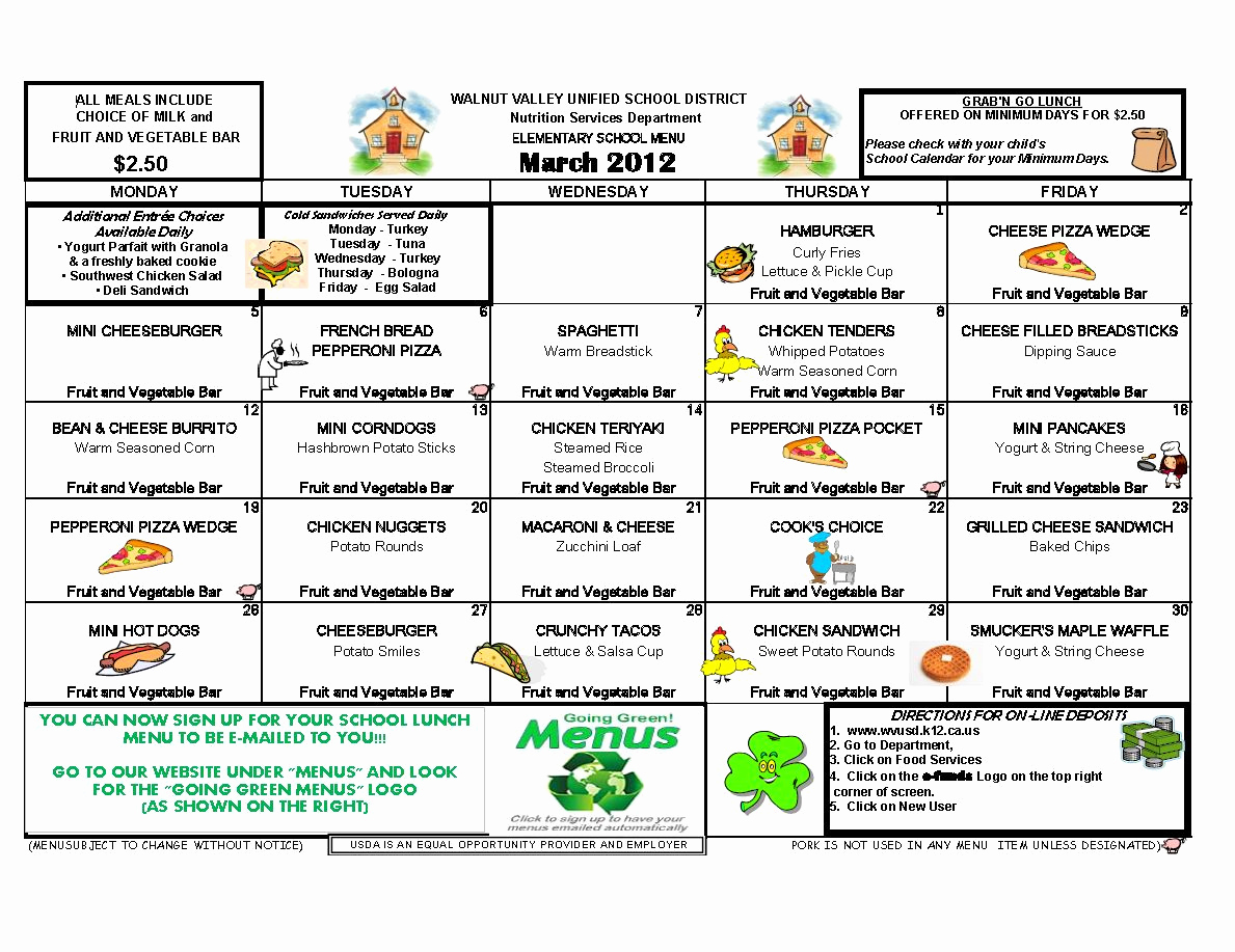 School Lunch Menu Template Elegant Castle Rock Munity Club March 2012
