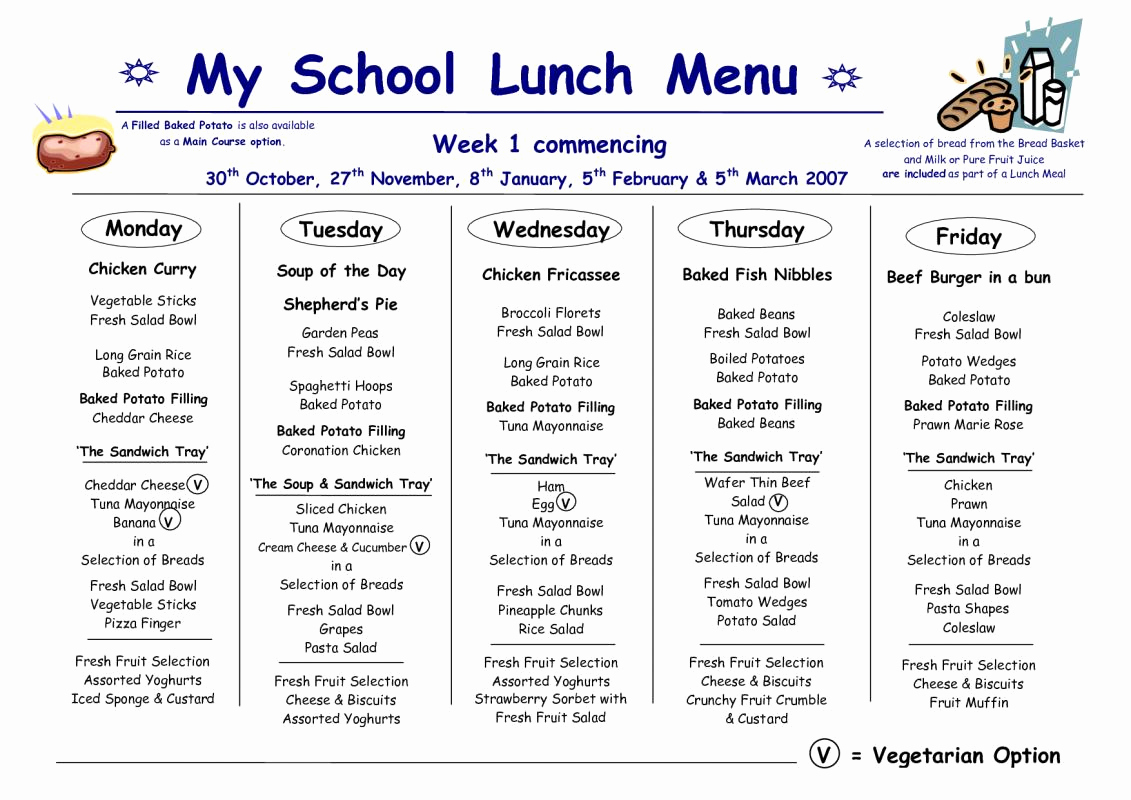 School Lunch Menu Template Inspirational School Lunch Menu