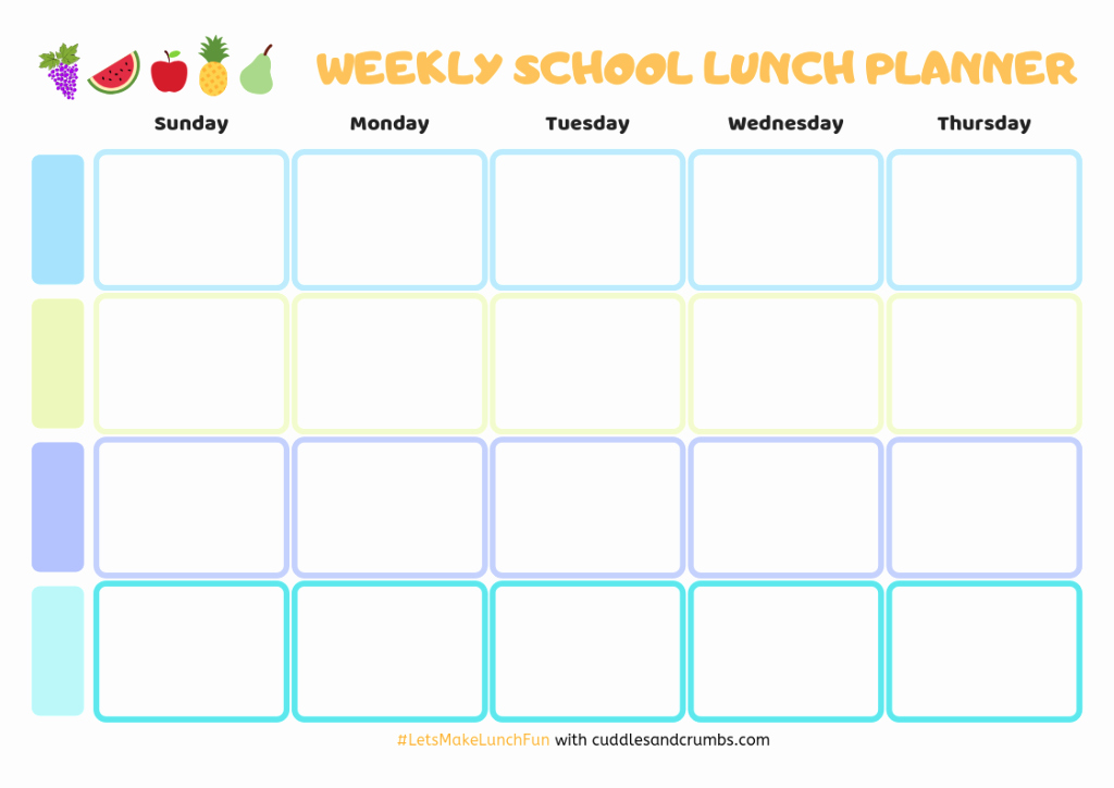 School Lunch Menu Template Luxury Weekly School Lunch Planner V2