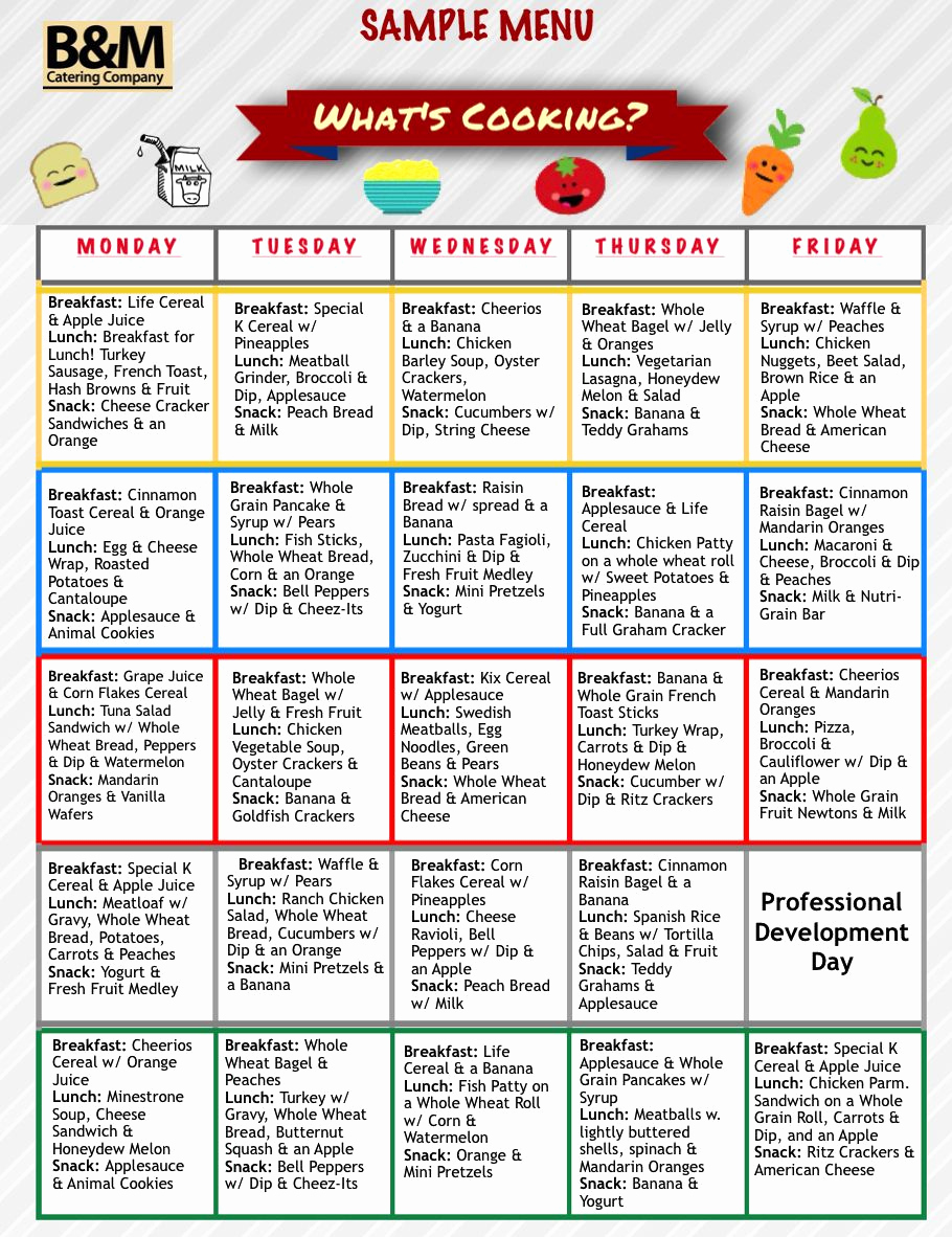 School Lunch Menu Template New Sample Menu for Childcare Lunches southern New England