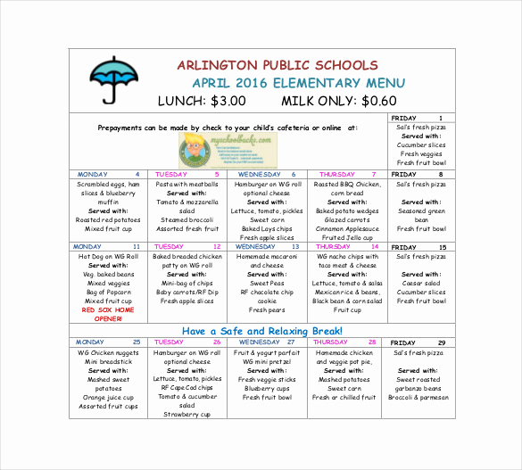 School Lunch Menu Template New Template for School Lunch Menu – Printable Schedule Template