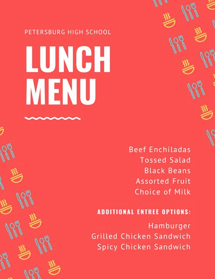 School Lunch Menu Template Unique Customize 84 Lunch Menu Templates Online Canva