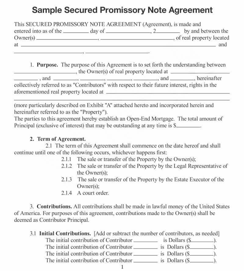 Secured Promissory Note Template Pdf Best Of 25 Free Secured Promissory Note Templates Word