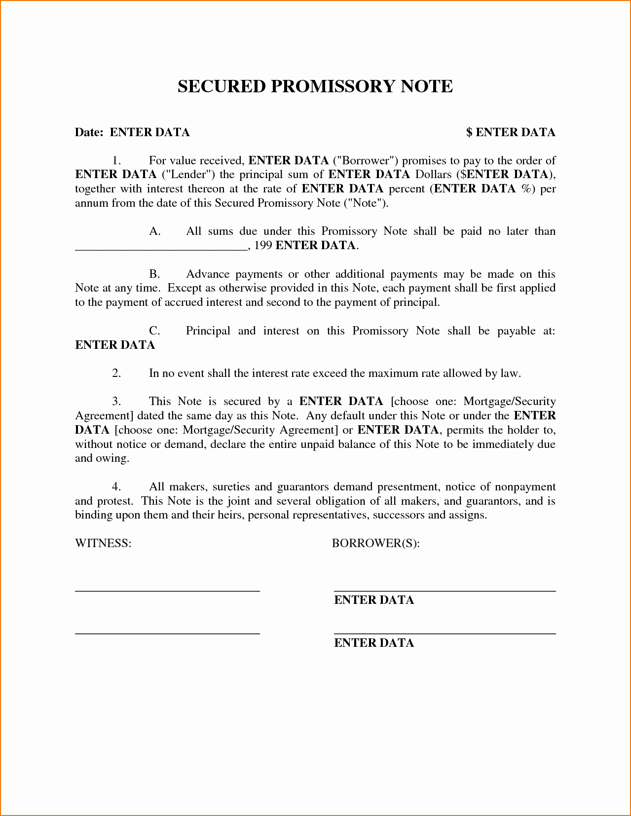 Secured Promissory Note Template Pdf Best Of 4 Secured Promissory Note Template